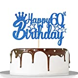 Blue Glitter Happy 60th Birthday Cake Topper for Cheers to 60 Years/Queen Men Birthday 60 Years...