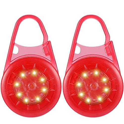 ZLCBBD Blinklicht Schulranzen fur Kinder -USB Aufladbar LED Reflektoren/wasserdichte Sicherheit Haustier Lichter/Rucksack Kleidung Reflektor 2er Rot