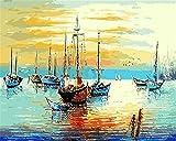 N\A Pinturas con Numeros para Adultos Kits Manualidades Pinturas para Lienzo Pinturas Oleo DIY Regalos Buque De Mar Abstracto with Frame