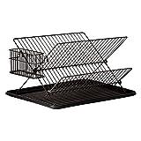 JOHSEATY Escurreplatos plegable negro metal (36,5 x 30,5 x 22 cm) con soporte y...