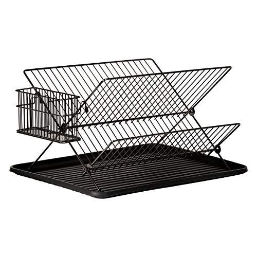 JOHSEATY Escurreplatos plegable negro metal (36,5 x 30,5 x 22 cm) con soporte y bandeja de goteo de plástico rejilla plegable para fregadero para bandeja de platos vasos