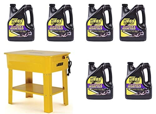 JEGS Parts Washer Kit   12 Gallon Solvent Capacity   2.64-3.17 Gallon Per Minute Max Pump Output   Heavy Duty Steel   Powder Coated Yellow with JEGS Logo
