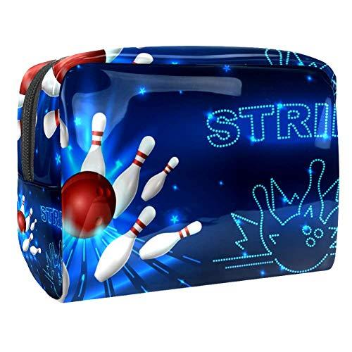 TIZORAX Kosmetiktasche für Frauen Bowlingball Pins bunt Reise-Kulturbeutel groß PVC Make-up Praktische Tasche Organizer mit Reißverschluss Muster 5 18.5x7.5x13cm/7.3x3x5.1in
