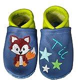 Krabbelschuhe aus Leder mit Namen Name Fuchs Sterne Baby Kindergarten personalisiert blau/grün