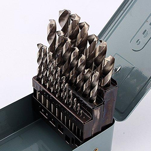 Juego de brocas HSS giratorias para tallar con borde de cincel corto y caja de metal, 25 unidades para taladrar en acero fundido, metales