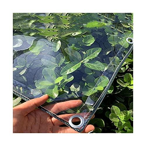 AMSXNOO Lona Transparente, 0,3mm Lona de PVC Impermeable de con Ojales, Cubierta Vegetal Versátil para Pabellones, Terrazas, Protección contra el Viento (Size : 2.4x4m)