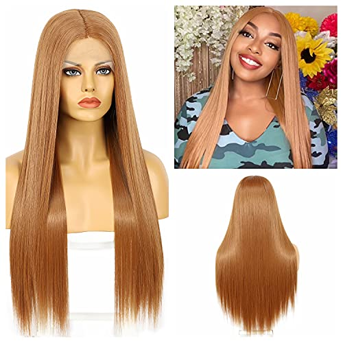 Synthetic Strawberry Blonde Lace Front Wigs with Deep Middle Part Straight Synthetic Wigs for Women Daily Use Japanese Heat Resistant Hair Replacement Wig 22 Inches Long 150% Density #27
