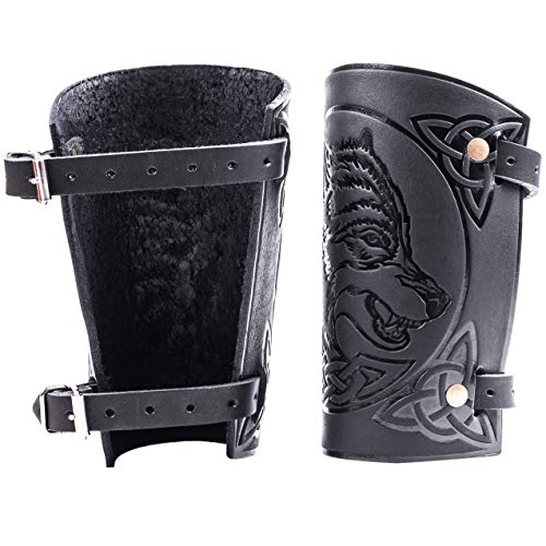 """Hand Made Full Grain Leather Wolf Design Cuffs Bracers - Fathers Day Dad Gift for Men Larp Gauntlet - Leather Wristbands - LARP Accessories - Viking Bracers - Archery Armguard - Length 6"""""""