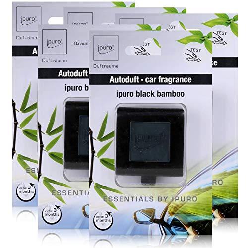Essentials by Ipuro Car Line Autoduft black bamboo - Kräftig, grüne Frische vereint mit einer holzigen Nuance – ein herb-frischer Duft (5er Pack)