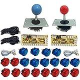 Tongmisi ゼロ遅延アーケードジョイスティックとボタンキット USBエンコーダー 透明プッシュボタン アーケードゲームマシン MAME / PC / ラズベリーパイ用 K0086