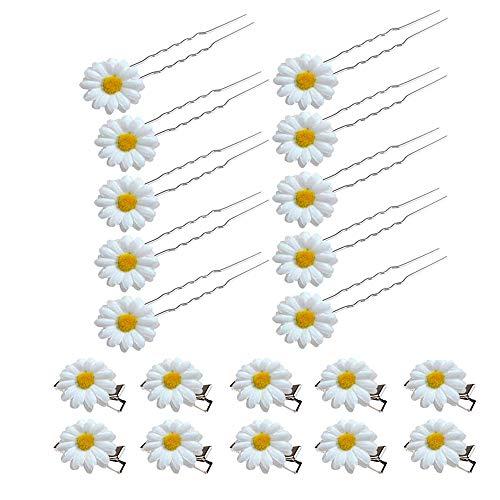 20 Stück Haarspangen mit Gänseblümchen,Hochzeit Blume Haarspange,Daisy Haarschmuck,Braut Mädchen Haarschmuck (Weiß)