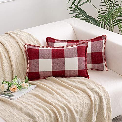 HAUSEIN 2 fundas de cojín de algodón y lino, diseño retro de casa de granja, de estilo búfalo a cuadros, suaves, cómodas, para salón, dormitorio, sofá (rojo y blanco, 30 x 50 cm)