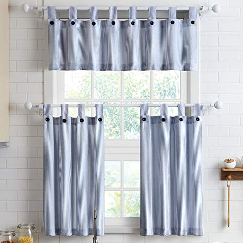 Short Curtains 36 Inches Long for Kitchen Window Tab Top of 3 Pieces Cafe Curtains for Smart Half Window 56' x 36', Navy