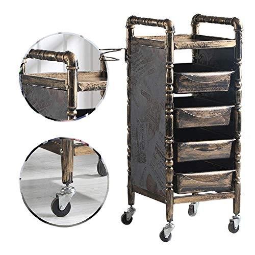 KEKEYANG Carrito Salón SPA tranvía Retro peluquería Carro con 5 cajones, secador de Pelo Titular y 4 Ruedas Universal for salón de Belleza, baño Cocina