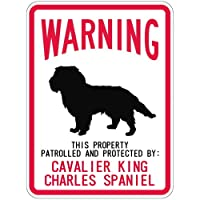 WARNING PATROLLED AND PROTECTED CAVALIER KING CHARLES マグネットサイン:キャバリア(スモール) 警告.
