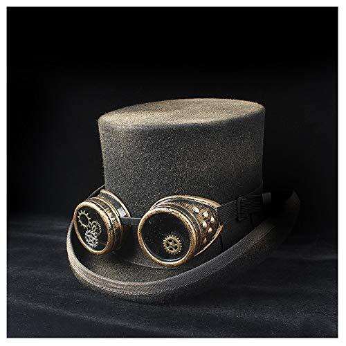ハチマル 100%手作りウール女性男性スチームパンクシルクハット付きパンクギアメガネトッパーシャワーハットマッドハッターマジックハット 帽子ラック (Color : Black, Size : 59cm)