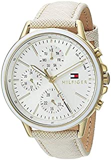 Tommy Hilfiger Women's Casual Sport Quartz Watch with Leather Calfskin Strap Champagne Model 1781790
