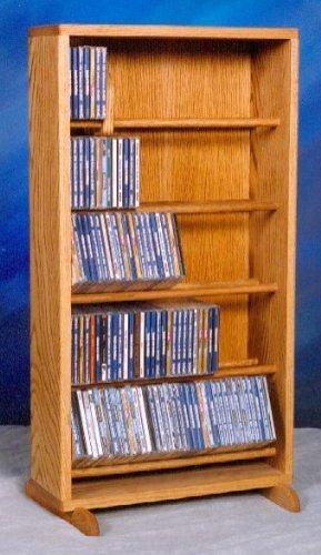 Dowel CD Storage Tower w Five Shelves (Honey Oak)