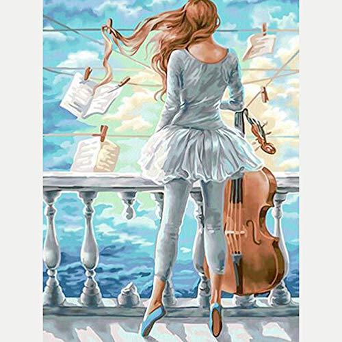 DIY 5D Diamante Pintura Kits Pinturas por Numeros Hermosa niña tocando el violín 5D Diamond Painting,Bordado Punto de Cruz Diamante Manualidades Hogar Decoracion 30X40 cm (Sin marco)