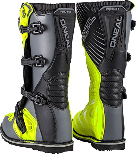 O'Neal Rider Boot MX Cross Stiefel Grau Gelb Hi-Viz Motorrad Enduro Motocross Offroad, 0329-9, Größe 43 - 2