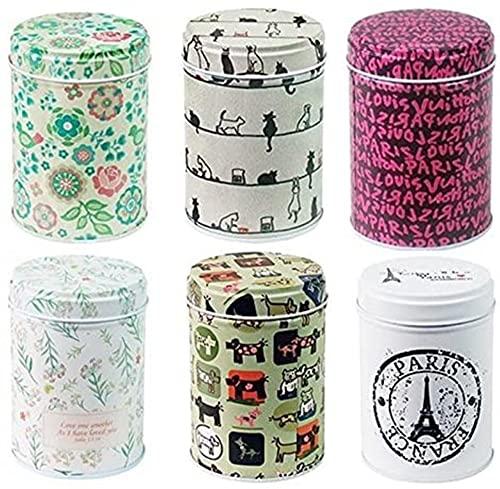 xshelley Retro doble para hogar cocina almacenamiento contenedores colorido latas redondas latas de té conjunto de 6