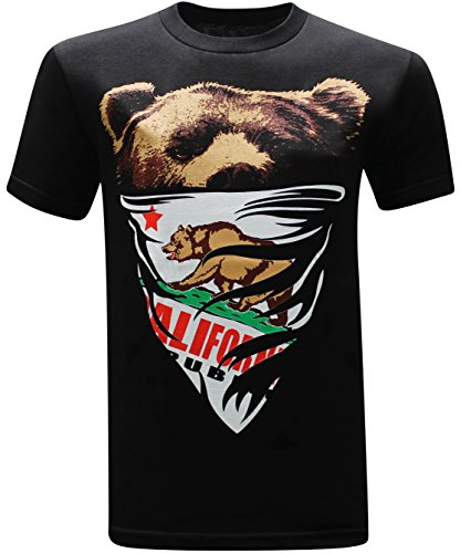 tees geek California Republic White Bandana Bear Men's T-Shirt - (Large) - Black