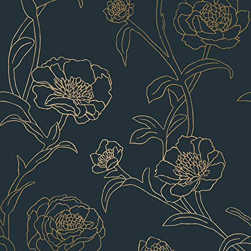 Tempaper PE10633 Peacock Blue & Metallic Gold Peonies | Designer Removable Peel and Stick Wallpaper