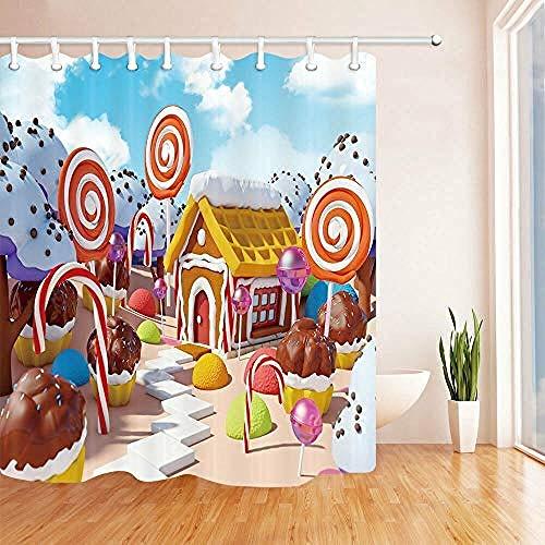 Hividd Duschvorhang Candy Land Mit Lebkuchenhaus Bad StoffDuschvorhang Set 180 * 180 cm