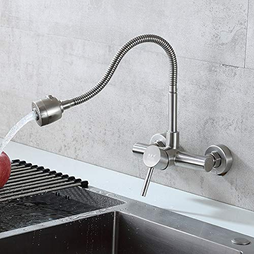 Modenny Küche Edelstahl-Wand Heiß Kalt Mischarmatur einzigen Handgriff Double Wand-Wannen-Wasser-Hahn Heimwasch Pool-Hahn mit dem Duschkopf