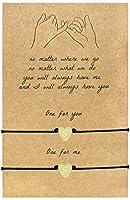ピンキープロミスブレスレット ハートイニシャルブレスレット 女性用 長さ調節可能 フレンドシップブレスレット ジュエリーギフト 2個 11 inches