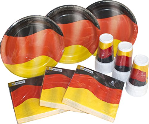 HEKU 30005-34: Party-Einweg-Set mit Tellern, Bechern und Servietten, 120-teilig, Deutschland