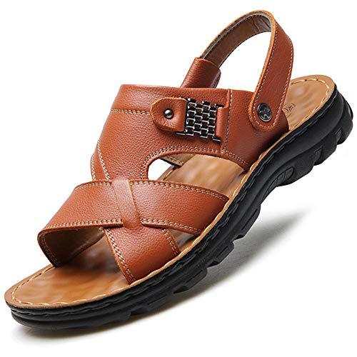 JXJ Verano Hombres Sandalias Cuero Zapatos Hombre Cómodo Slip-on Zapatillas Playa Hombre Sandalia