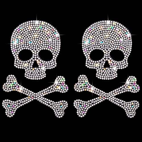 OIIKI 2PCS Skull and Bone Bling Car Decals, Skull Decal Rhinestone Stickers, Crystal Car Decor, Diamond Car Stickers and Decals, for Motorcycle Helmet Laptop Tumbler Luggage Guitar