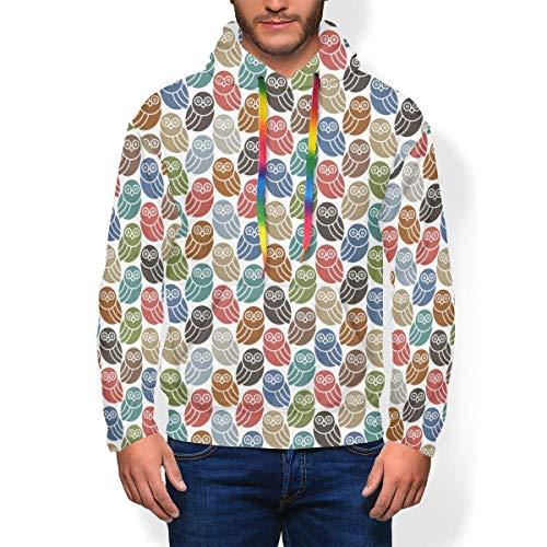 longing-summer Pull à capuche Retro Owl Coloré Sweat-shirt à capuche pour hommes - - X-Large