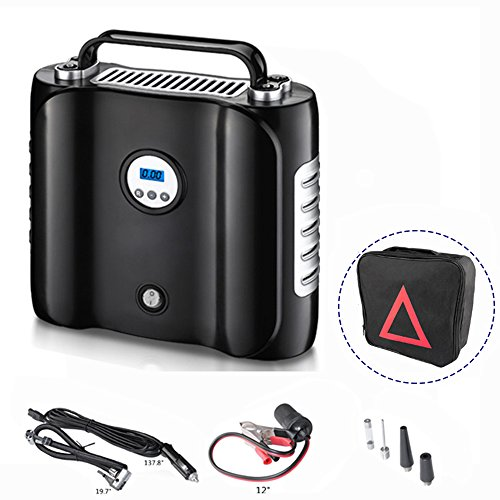 COOCHEER Upgraded Double Cylinder Air Compressor Pump Auto Digital Tire Inflator 12V DC 180W Tire Pump for Cars,Trucks,Motor,RV,SUV,Bicycle,Balls,Boats and Other inflatables with Carry Case