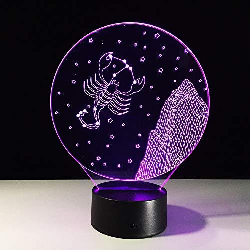 Sternbild Krebs 3D Illusion Lampe Nachtlicht für Kinder Lampe LED Tisch Schreibtisch Lampen Farbwechsel Dekor Lampe mit Fernbedienung,Weihnachtsge birthday present für Mädchen Ice crack base 16 Colors