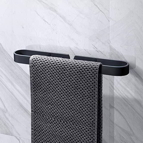 KINLO Handtuchhalter ohne Bohren 40cm Multifunktions Handtuchringe Handtuchstange wandhalterung/Selbstklebender Schuhregal/Topfdeckelhalter/Veranstalter/Aluminium für Badezimmer Küche(Matt schwarz)