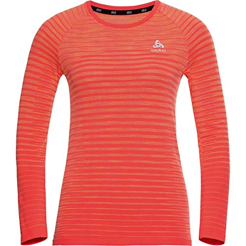 Odlo - Fitness-Longsleeves für Damen in hot coral - space dye, Größe M