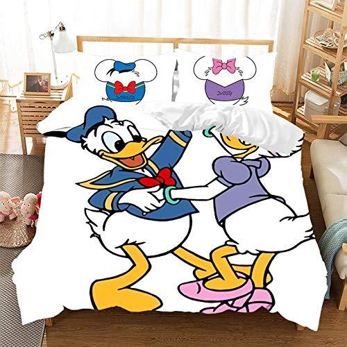 Juego de ropa de cama de 2/3 piezas, diseño de pato Donald, funda nórdica y funda de almohada, 100% microfibra, juego de ropa de cama para niños, regalo, decoración del hogar (220 x 240 cm)