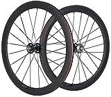 HULKWHEELS Carbon Fixed Gear Wheelset 700c Rim Single Speed Bike/Fixie Bicycle Front & Rear Wheel Set Clincher Type 38/50/60/88mm Depth 23mm Width Track Bike Wheelset (60mm/23mm, 17 Teeth)