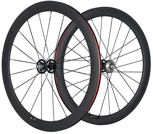 HULKWHEELS Carbon Fixed Gear Wheelset 700c Rim Single Speed Bike/Fixie Bicycle Front & Rear Wheel Set Clincher Type 38/50/60/88mm Depth 23mm Width Track Bike Wheelset (38mm/23mm, 15 Teeth)