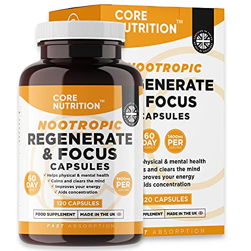 Nootropics - Brain Supplements & Stimulants for Boosting Energy, Focus, Memory & Mental Performance - 120 Capsules for a 60 Day Supply - Made in The UK by Core Nutrition
