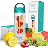 Savvy Infusion Water Bottles - 24 Ounces - Teal Cap - Leak Proof Silicone Sealed Cap with Handle - Fruit Infuser Water Bottle for Fitness, Yoga, Running, and Working Out - Great Gifts For Women