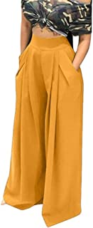 HuiSiFang Women's Casual Loose Wide Leg High Waisted Flared Bell Bottom Palazzo Lounge Pants with Pockets
