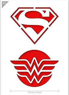 QBIX Superhero Stencil - Superman Stencil - Wonder Woman Stencil - A5 Size - Reusable Kids Friendly DIY Stencil for Painting, Crafts, Wall, Furniture