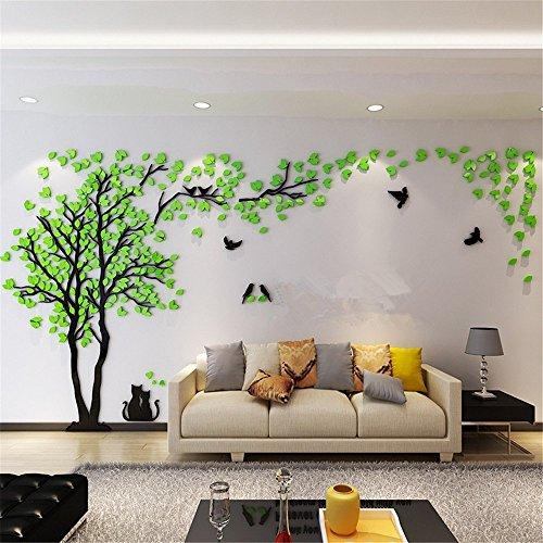 JYSPORT Wandaufkleber, Wandtattoo, selbstklebende Wandtattoo 3D Kristall des Paares Baum für TV / Sofa Hintergrund / Wohnzimmer etc (Green, L)