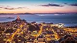 Coit Tower Alcatraz Island San Francisco Bay Paisaje nocturno DIY 5D Pintura de diamante por número Kits únicos Decoración de pared para el hogar Decoración de pared de diamantes de imitación de