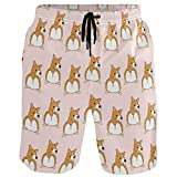 visesunny Funny Corgi Dog with Fat Ass Print Men's Beach Shorts...