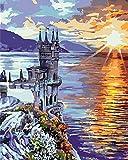 HRKDHBS Kit De Pintura por Números Castillo Junto Al Mar Pintura Al Óleo para Niños Principiantes Adultos Regalo Pintura Óleo Decoraciones 40X50Cm (Tener Marco)