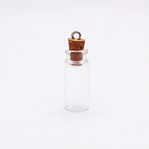 10 Black Small Empty Cork Glass Bottle Jewelry Vial Potion Wishing Message Charm